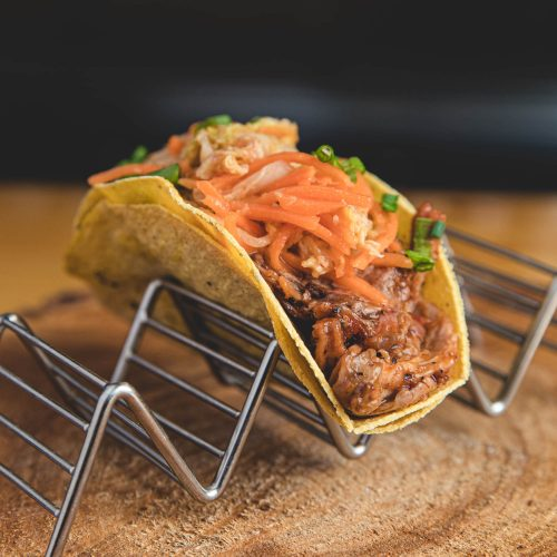 HopLore Brewing Korean BBQ taco with housemade Kim Chi